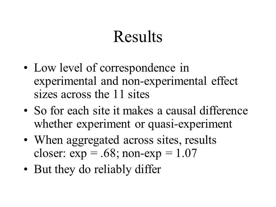 Results Low level of correspondence in experimental and non-experimental effect sizes across the 11 sites.