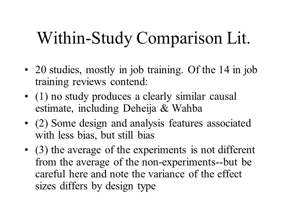 Within-Study Comparison Lit.