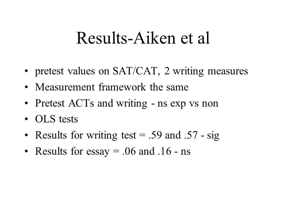 Results-Aiken et al pretest values on SAT/CAT, 2 writing measures