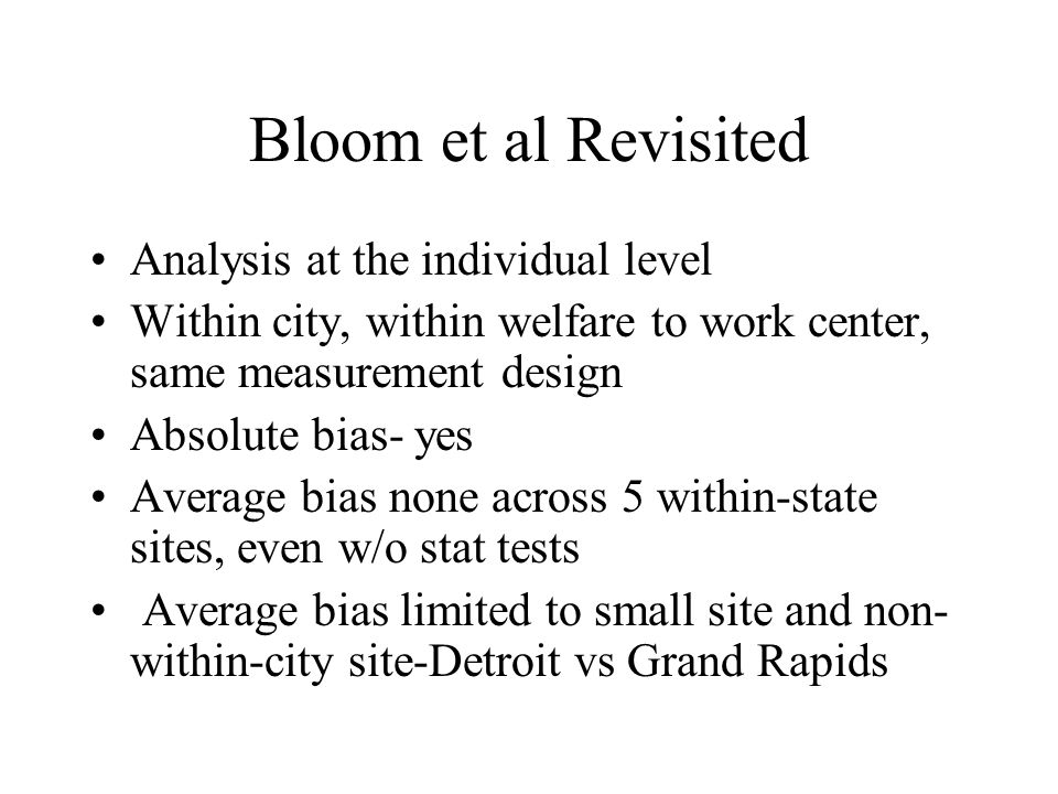 Bloom et al Revisited Analysis at the individual level