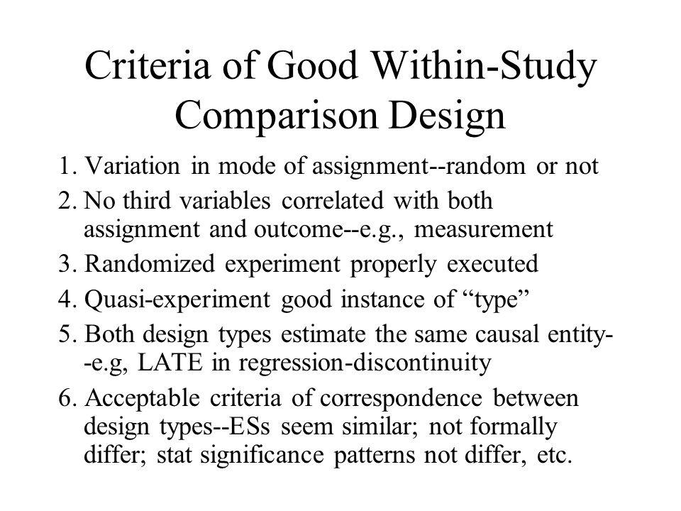 Criteria of Good Within-Study Comparison Design