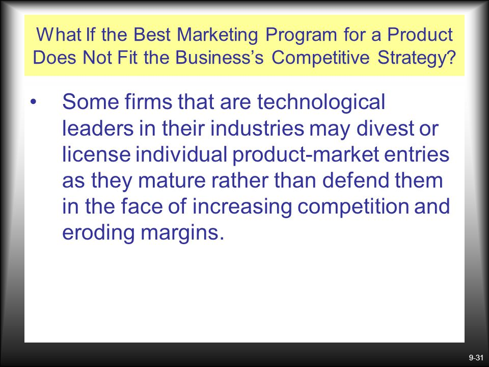 What If the Best Marketing Program for a Product Does Not Fit the Business's Competitive Strategy
