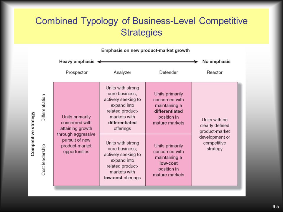 Combined Typology of Business-Level Competitive Strategies