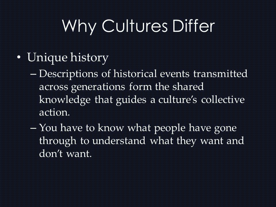 Why Cultures Differ Unique history
