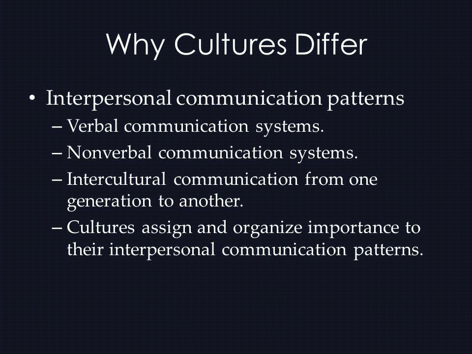 Why Cultures Differ Interpersonal communication patterns