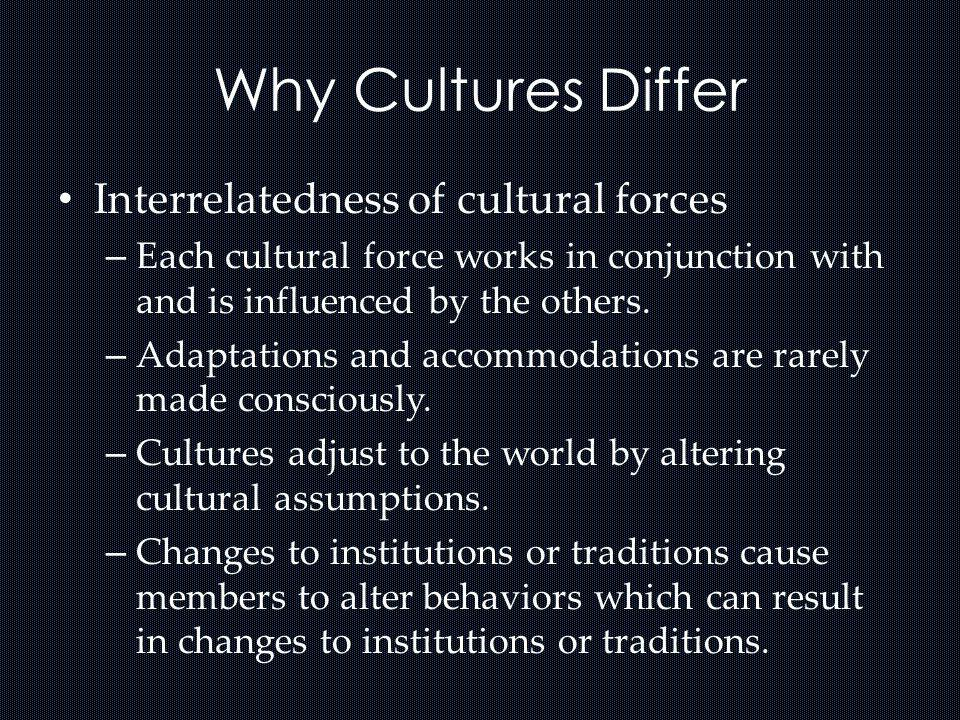 Why Cultures Differ Interrelatedness of cultural forces