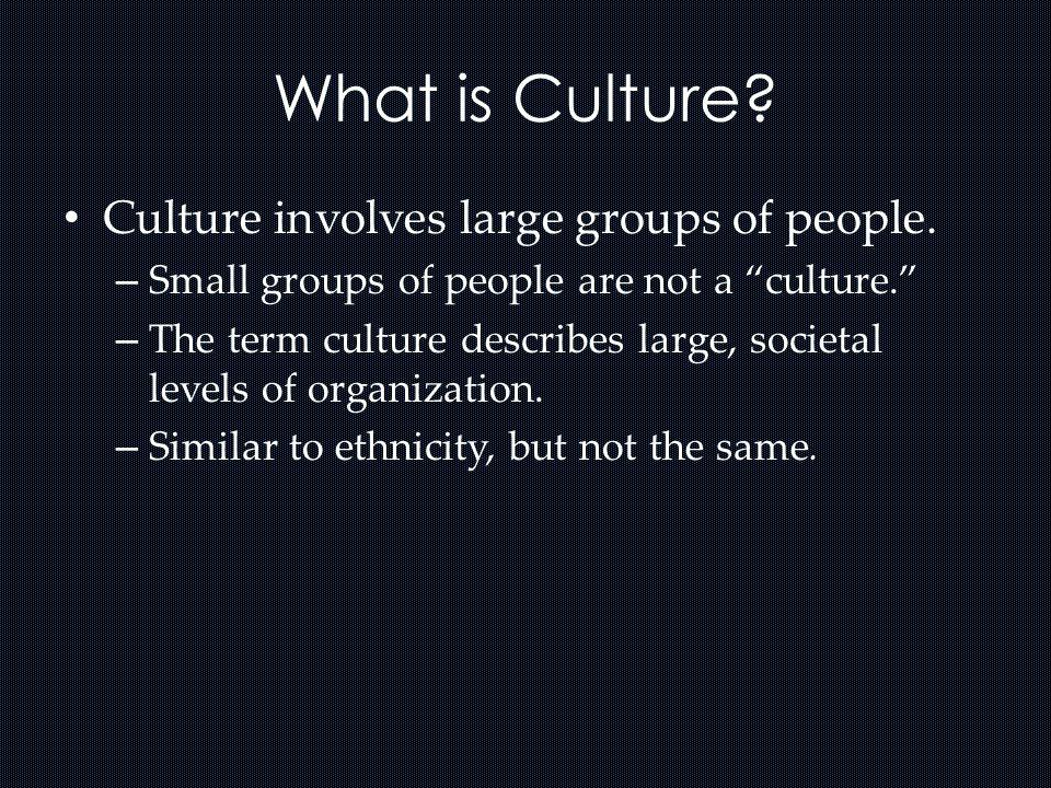 What is Culture Culture involves large groups of people.