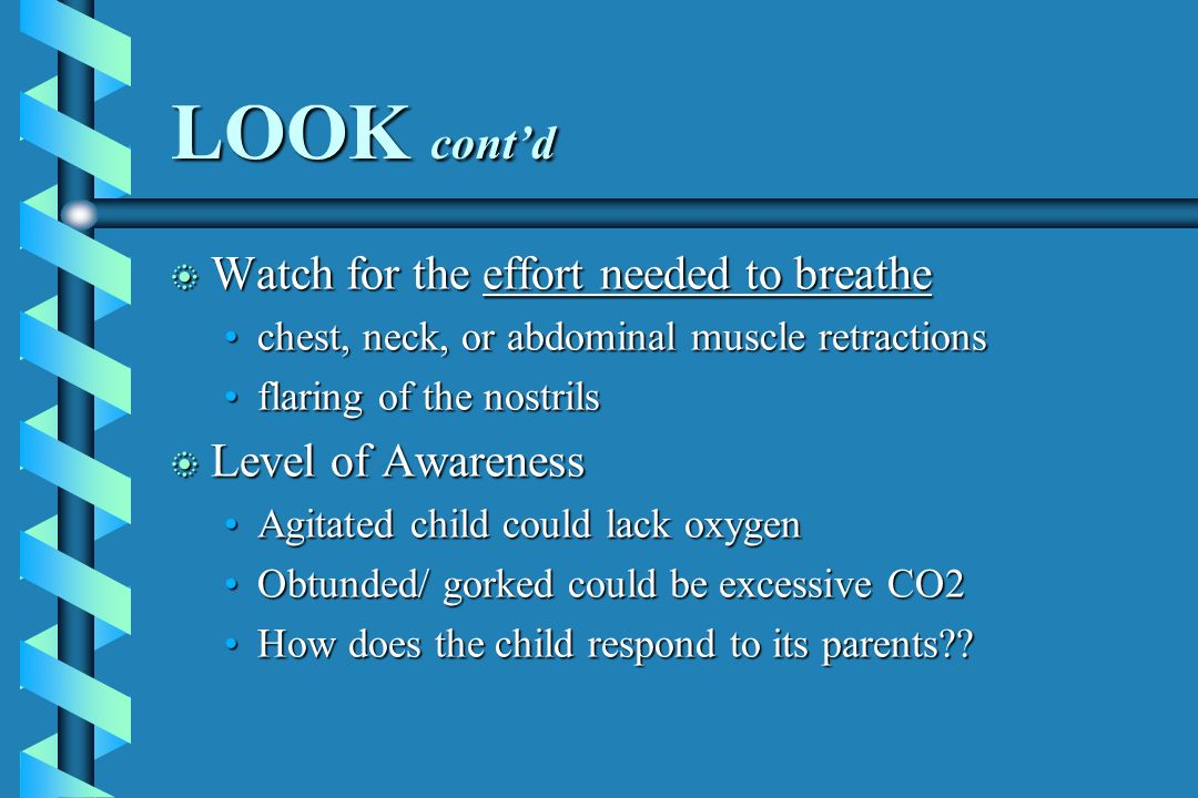 LOOK cont'd Watch for the effort needed to breathe Level of Awareness