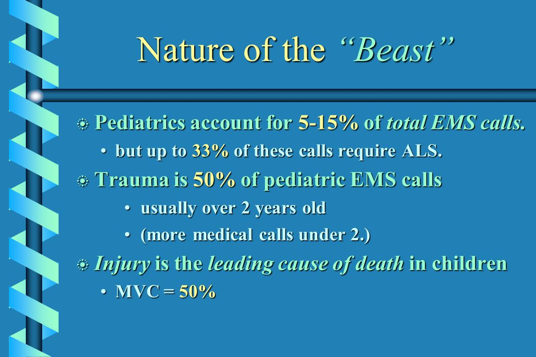 Nature of the Beast Pediatrics account for 5-15% of total EMS calls.