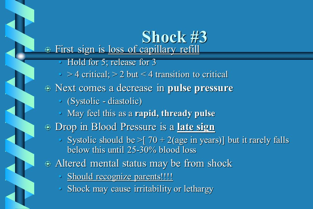 Shock #3 First sign is loss of capillary refill