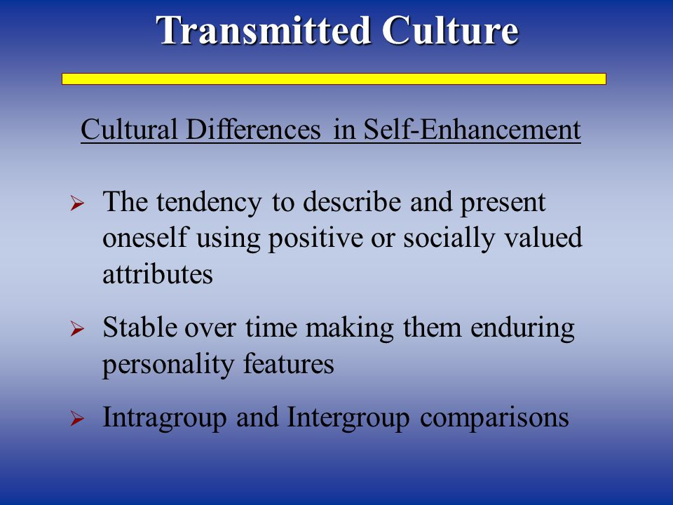 Cultural Differences in Self-Enhancement