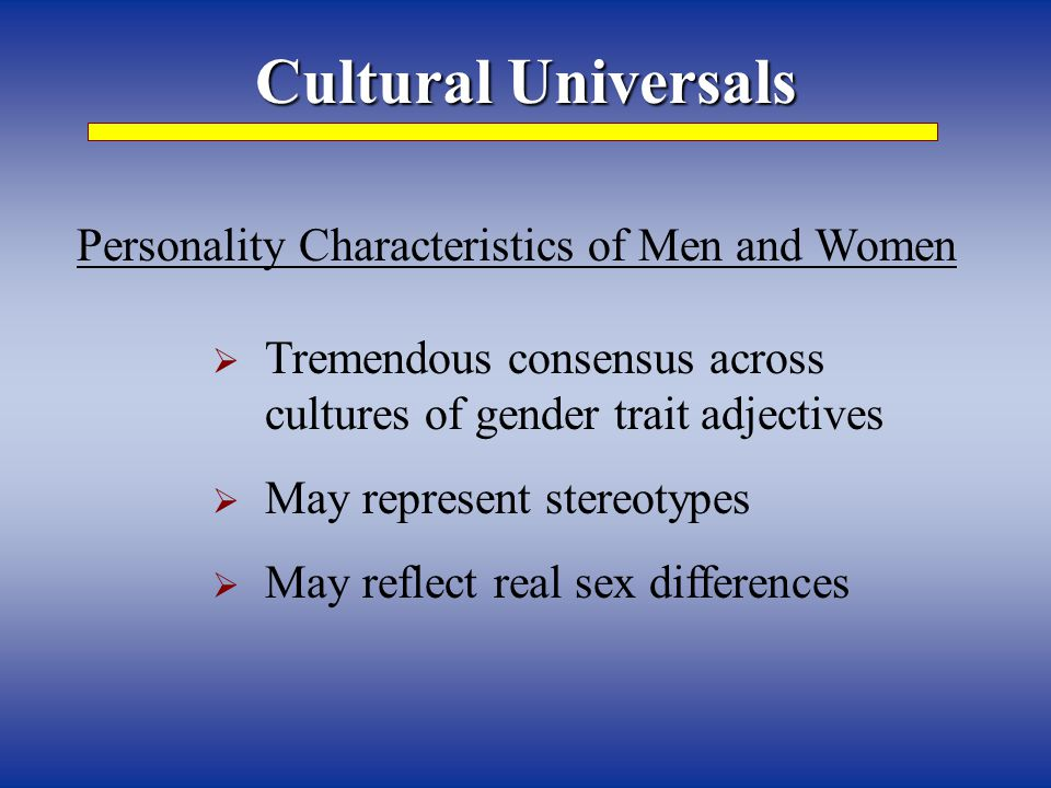 Personality Characteristics of Men and Women