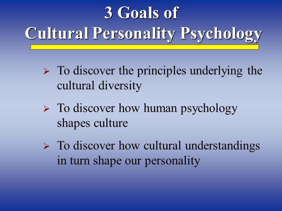 Cultural Personality Psychology