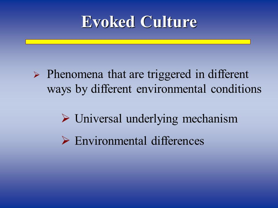 Evoked Culture Phenomena that are triggered in different ways by different environmental conditions.