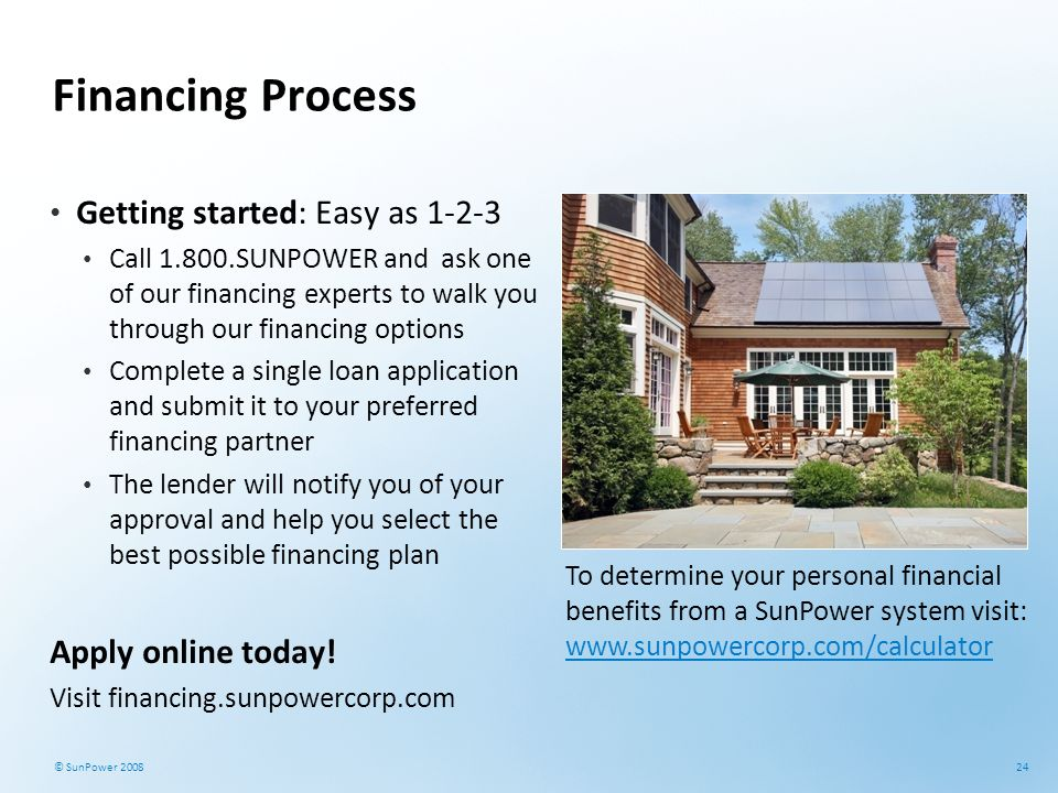 Financing Process Getting started: Easy as 1-2-3 Apply online today!