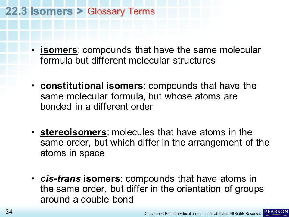 Glossary Terms isomers: compounds that have the same molecular formula but different molecular structures.
