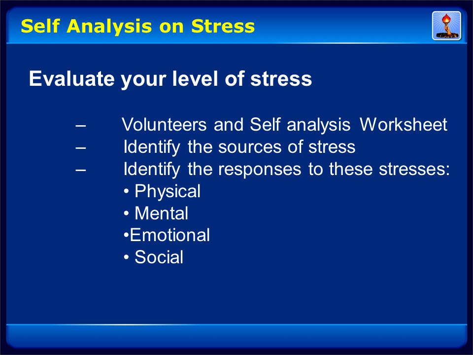 Evaluate your level of stress