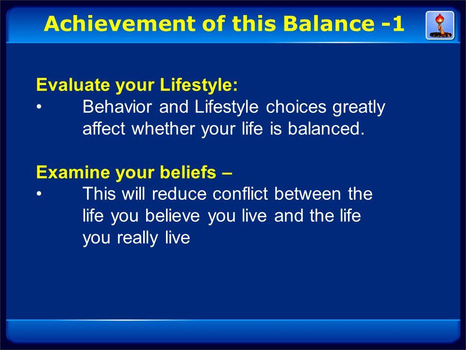 Achievement of this Balance -1