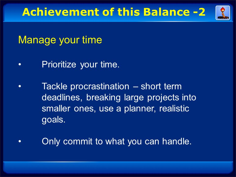Achievement of this Balance -2