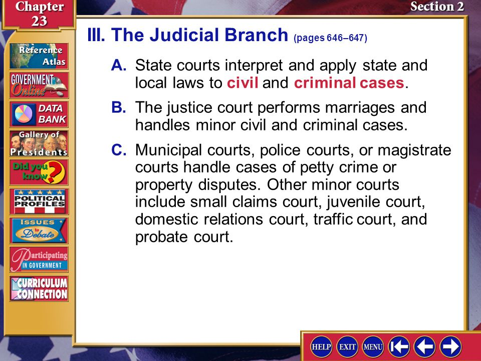 III. The Judicial Branch (pages 646–647)