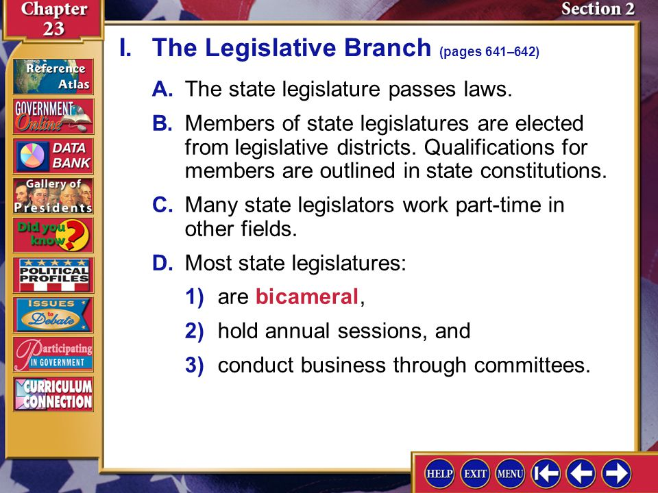 I. The Legislative Branch (pages 641–642)