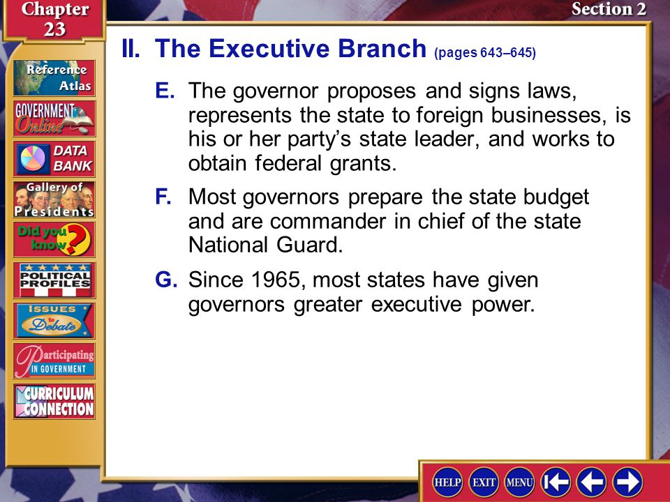 II. The Executive Branch (pages 643–645)