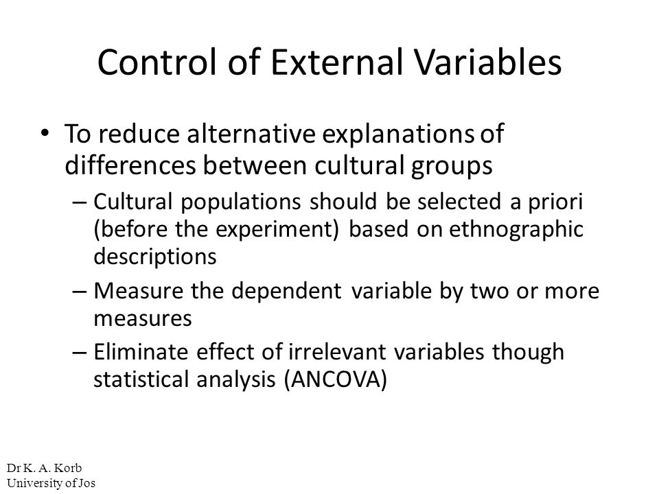 Control of External Variables