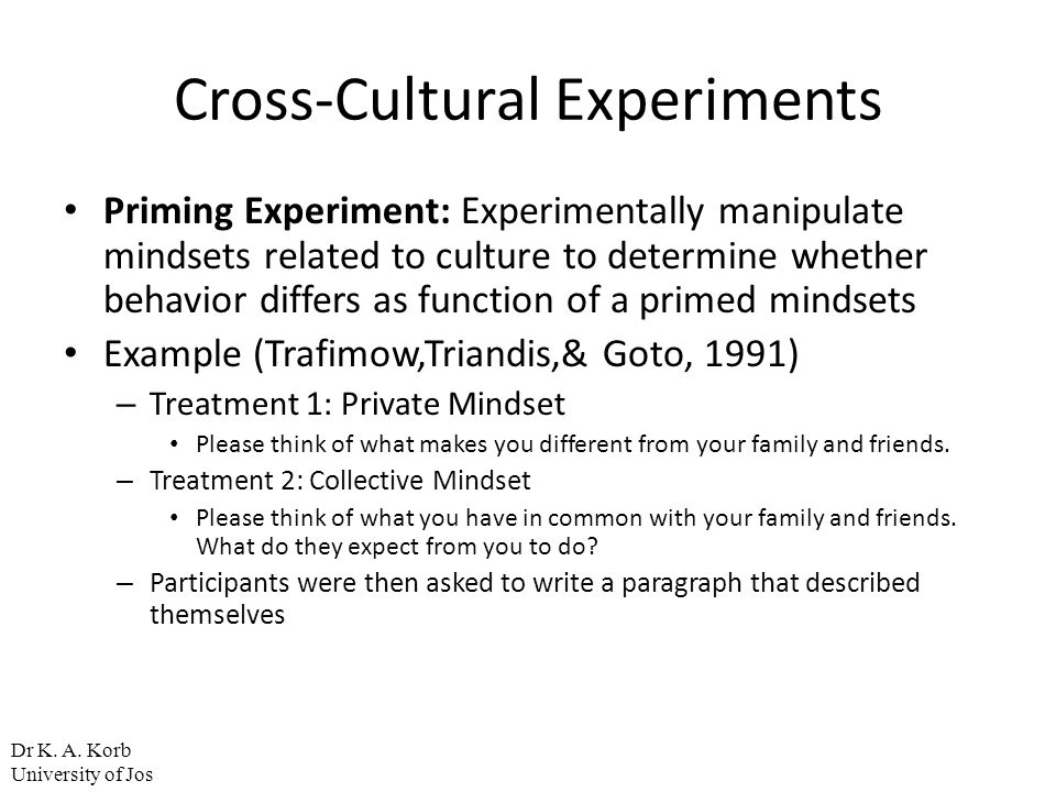 Cross-Cultural Experiments