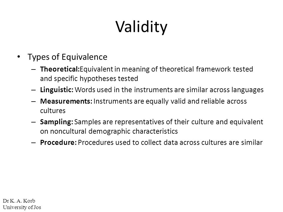 Validity Types of Equivalence
