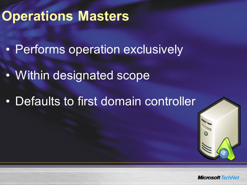 Operations Masters Performs operation exclusively