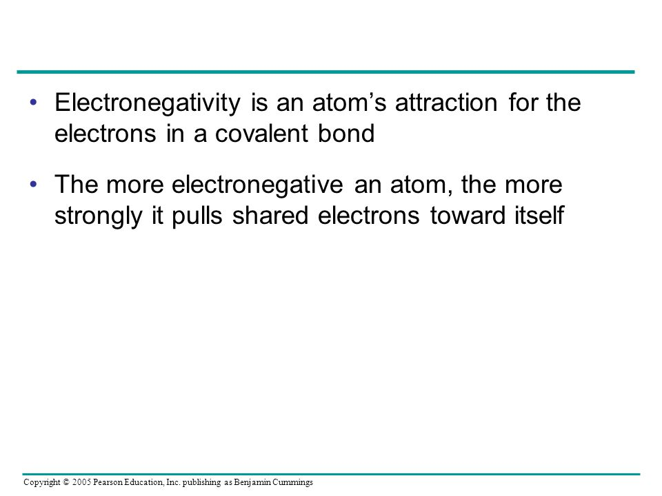 Electronegativity is an atom's attraction for the electrons in a covalent bond