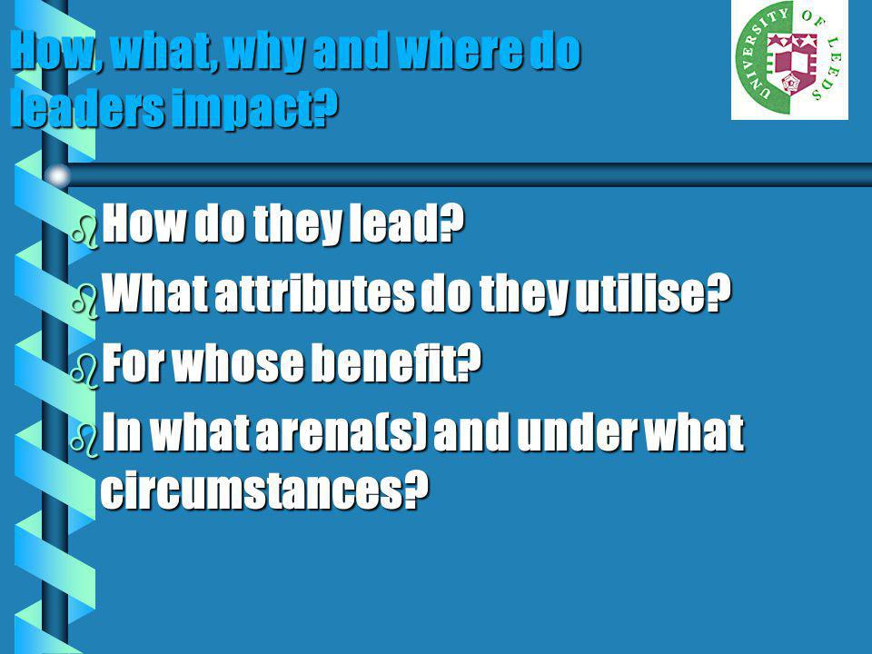 How, what, why and where do leaders impact