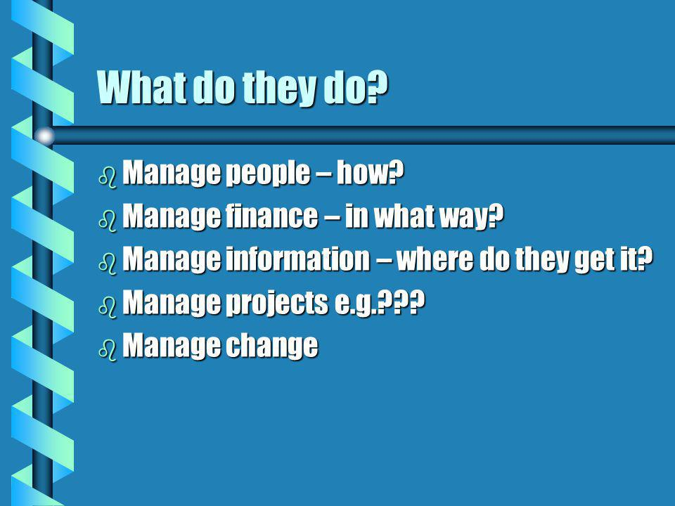 What do they do Manage people – how Manage finance – in what way