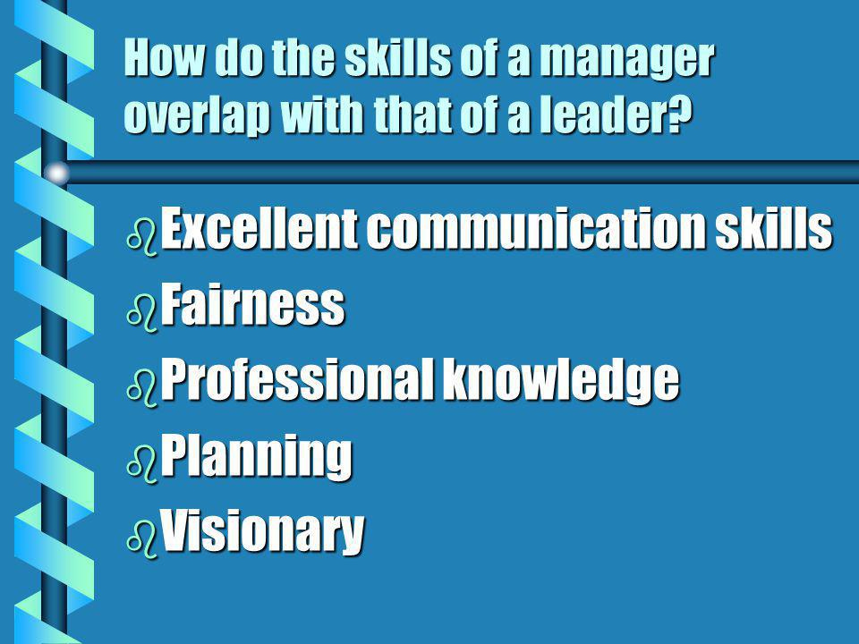 How do the skills of a manager overlap with that of a leader