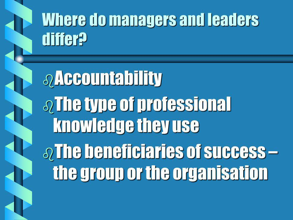 Where do managers and leaders differ