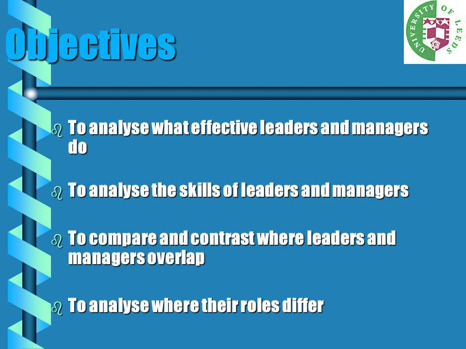 Objectives To analyse what effective leaders and managers do