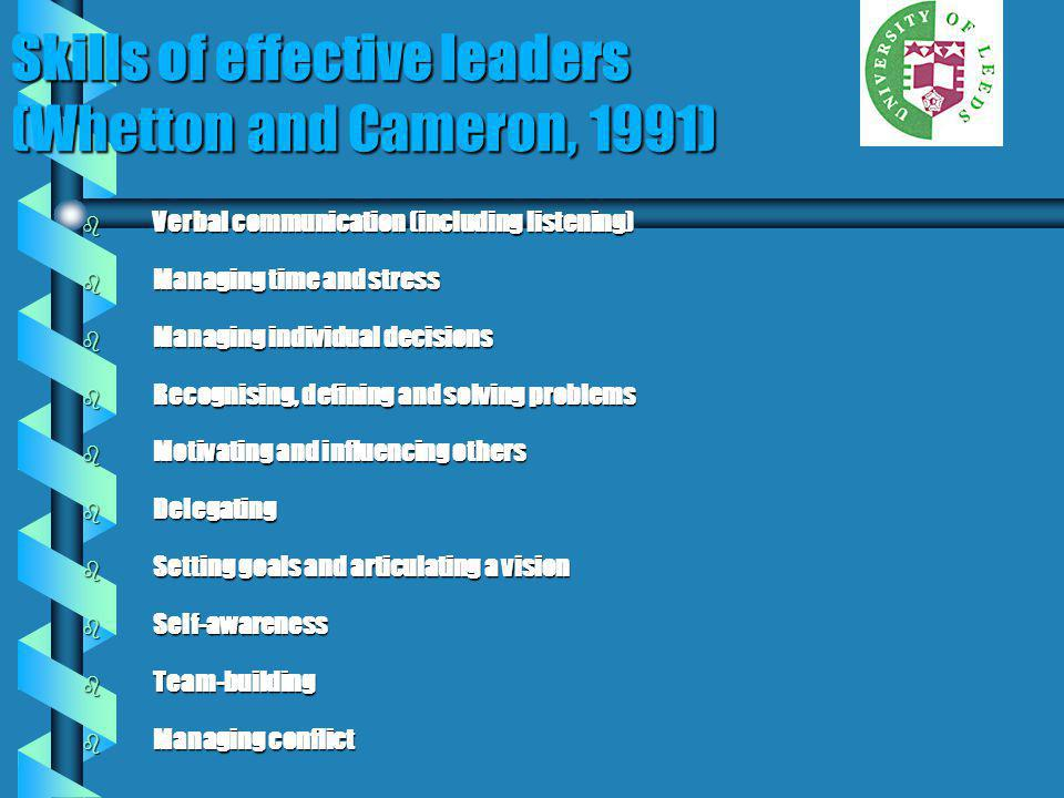 Skills of effective leaders (Whetton and Cameron, 1991)