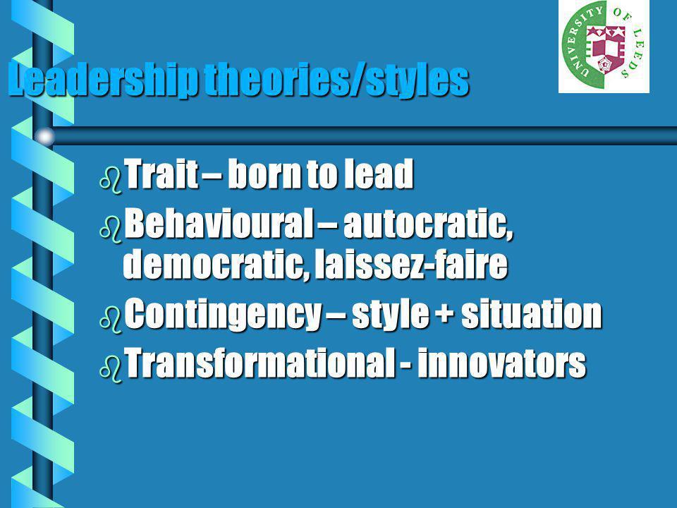Leadership theories/styles