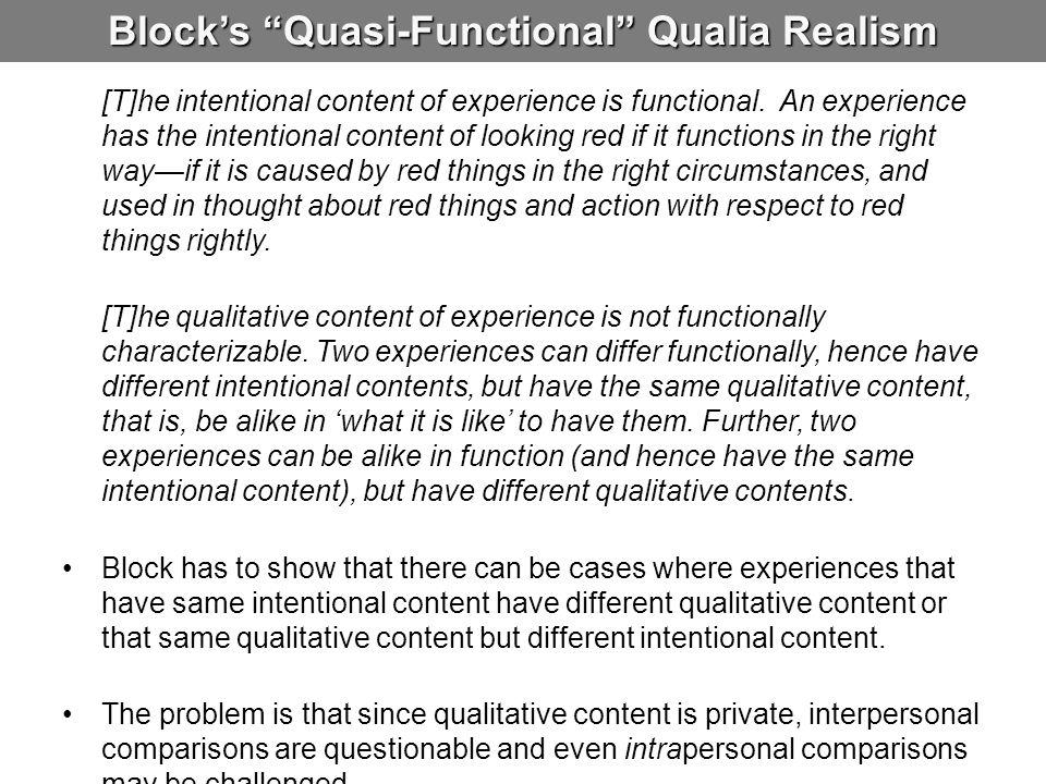 Block's Quasi-Functional Qualia Realism