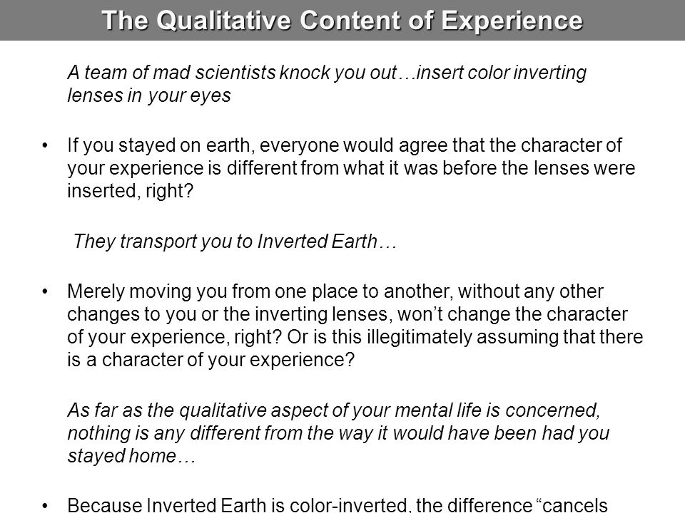 The Qualitative Content of Experience