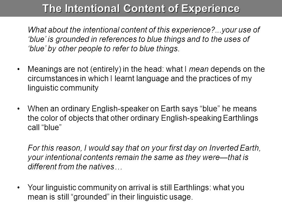 The Intentional Content of Experience