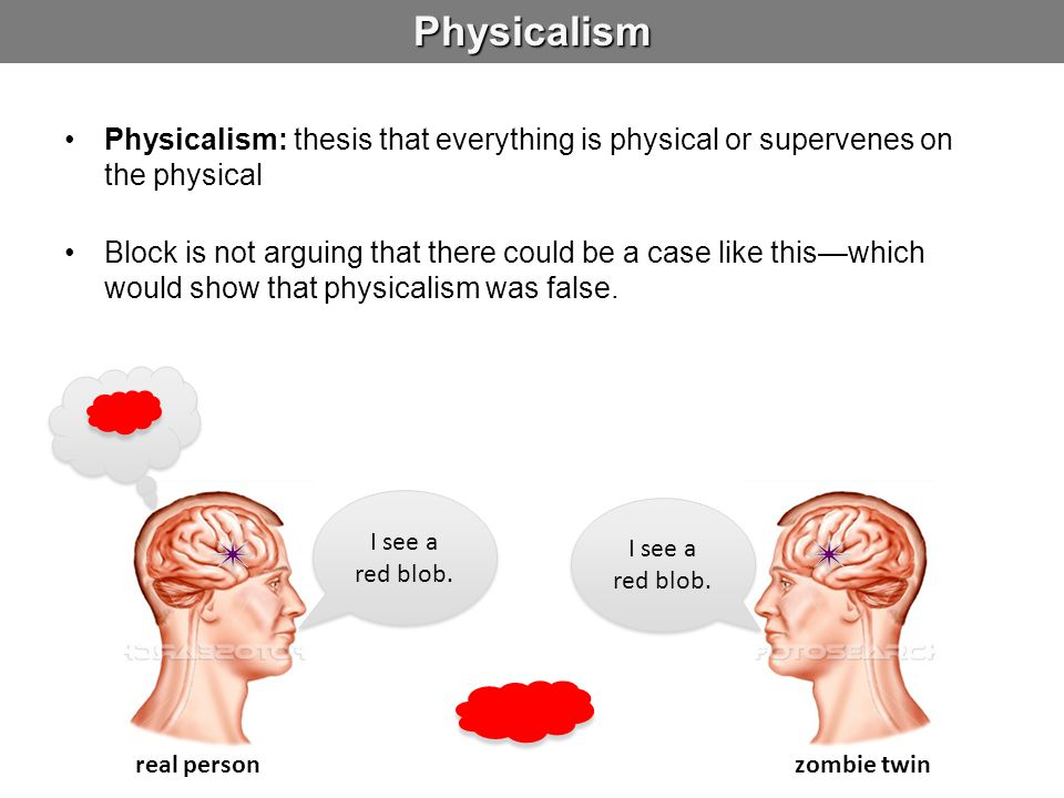 Physicalism Physicalism: thesis that everything is physical or supervenes on the physical.