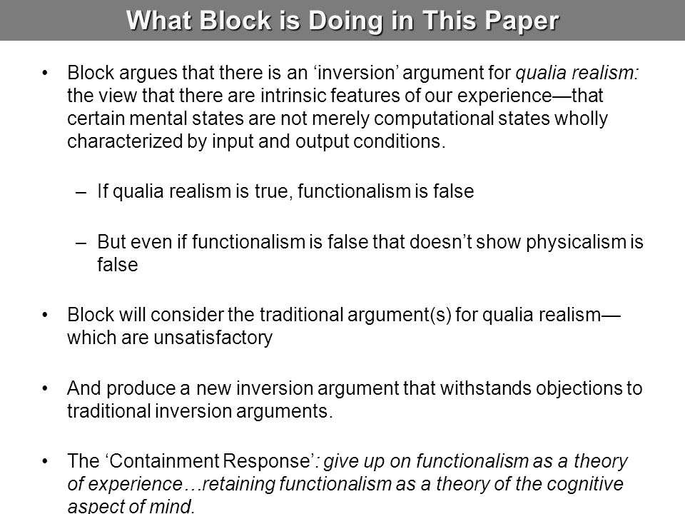 What Block is Doing in This Paper