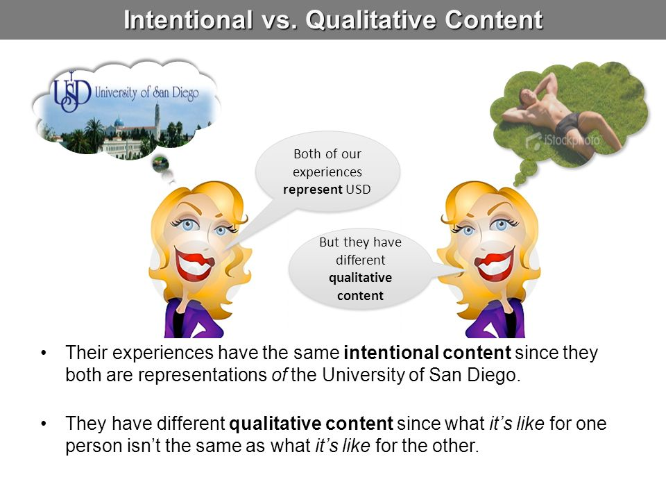 Intentional vs. Qualitative Content