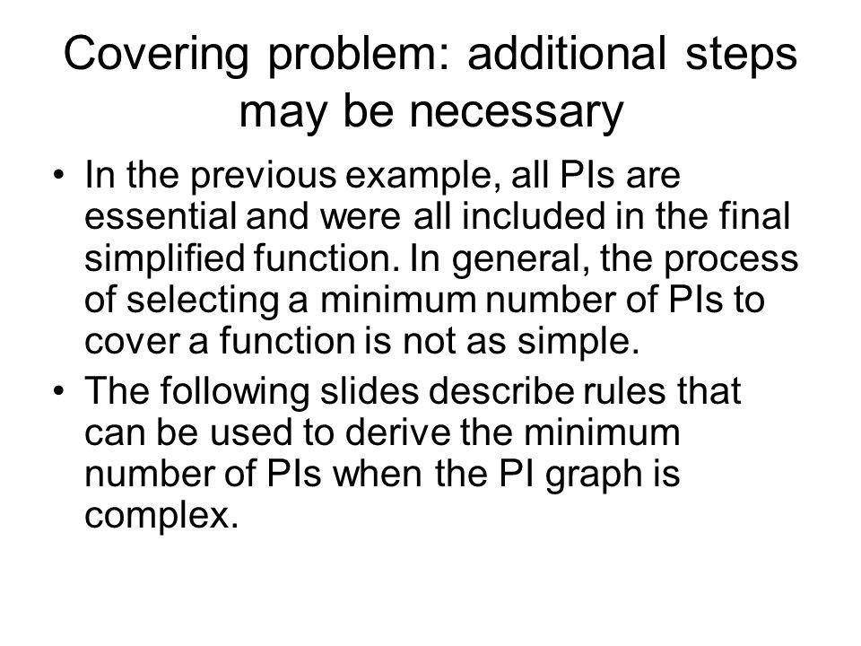 Covering problem: additional steps may be necessary
