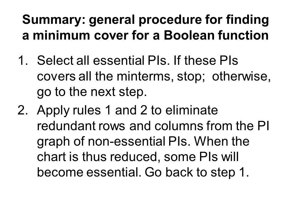 Summary: general procedure for finding a minimum cover for a Boolean function