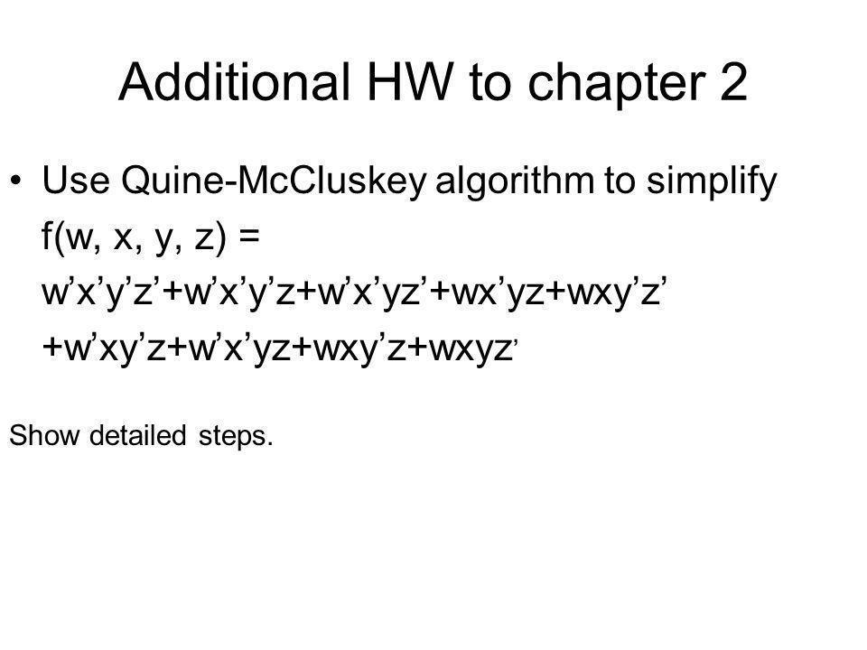 Additional HW to chapter 2
