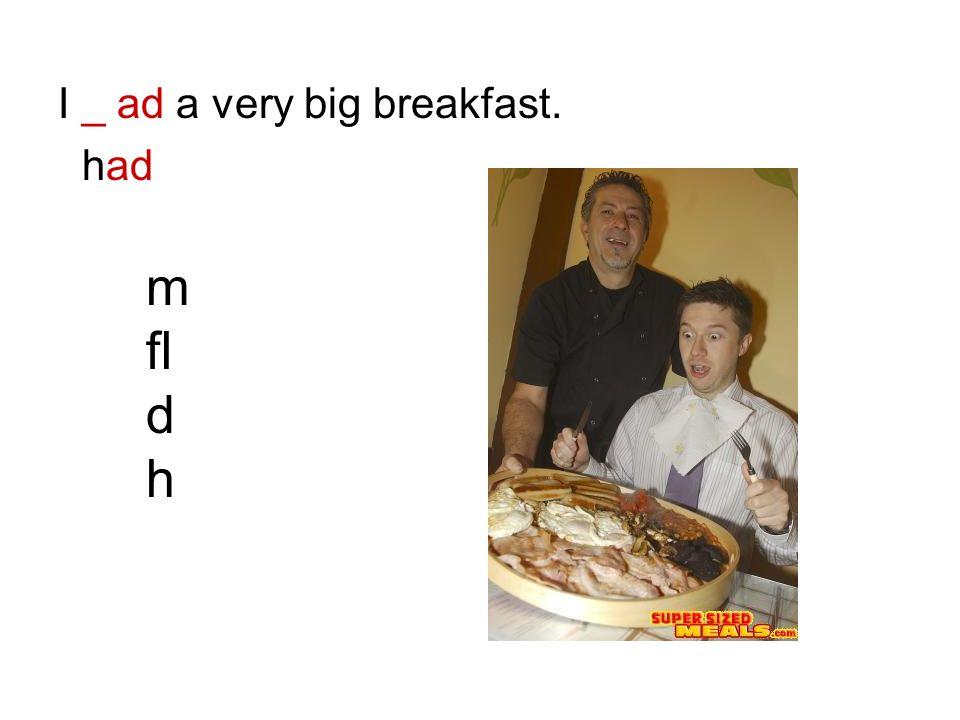 I _ ad a very big breakfast.