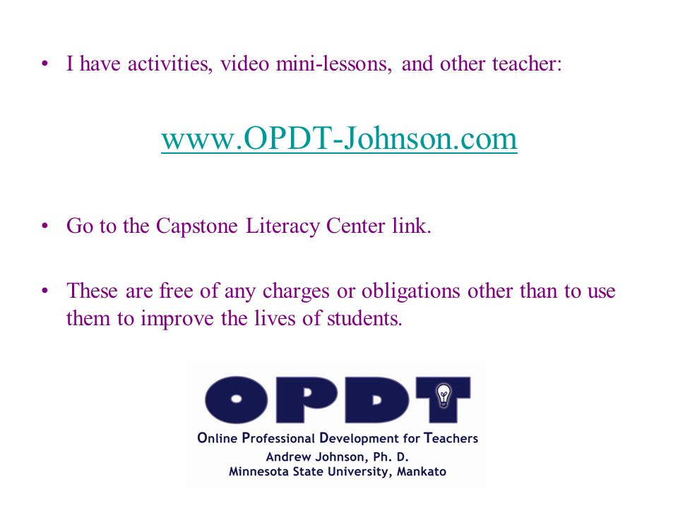 I have activities, video mini-lessons, and other teacher:
