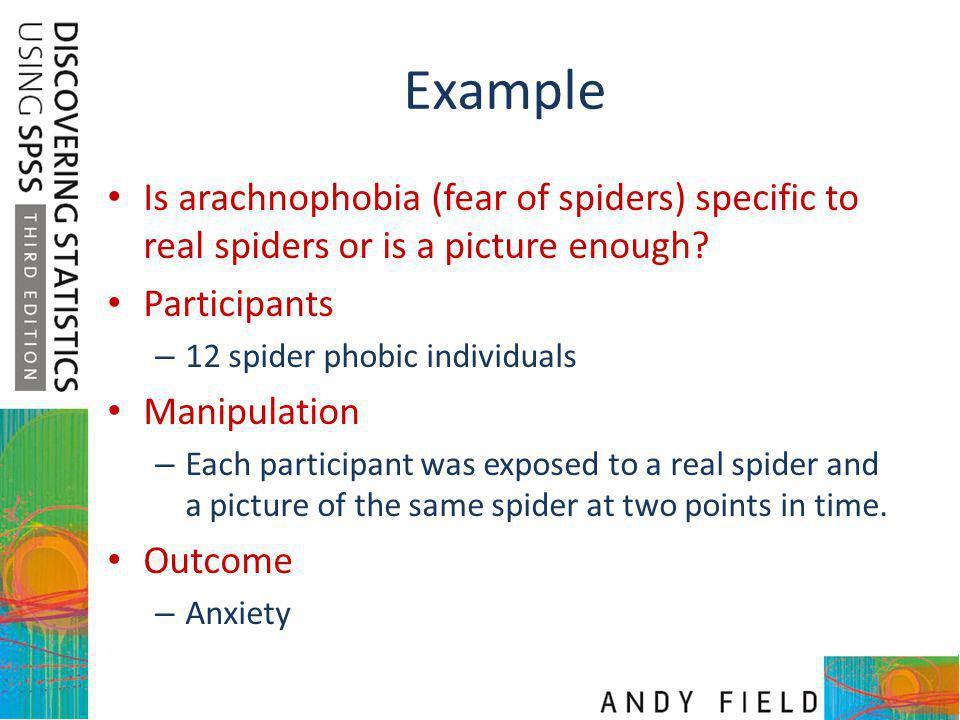 Example Is arachnophobia (fear of spiders) specific to real spiders or is a picture enough Participants.